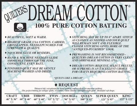 Dream Cotton Natural Request batting