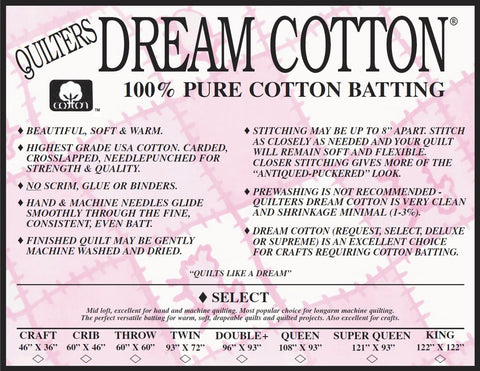 Dream Cotton Natural Select batting