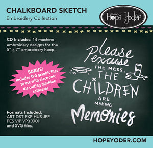 Chalkboard Sketch Embroidery CD/SVG files