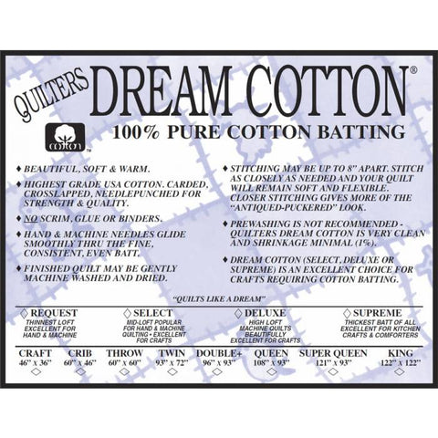 Dream Cotton Natural Deluxe batting