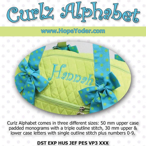 Curlz Alphabet Embroidery CD/SVG files