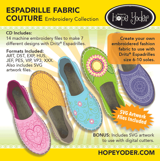 Espadrille Fabric Couture Embroidery CD/SVG files