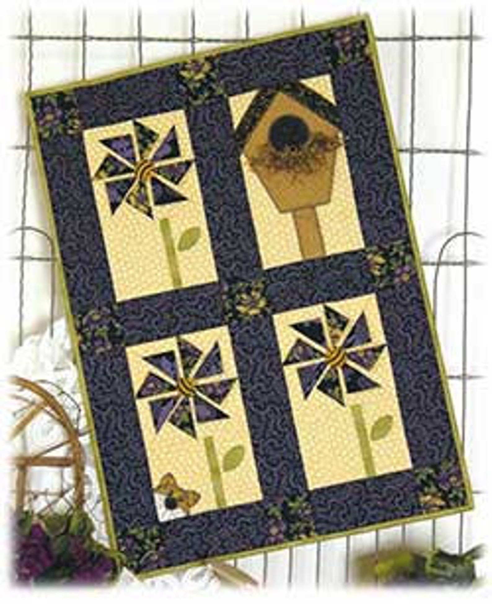 Pinwheels & Purrs Wall Hanging pattern kit