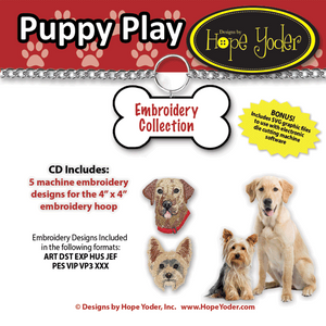 Puppy Play Embroidery CD/SVG files