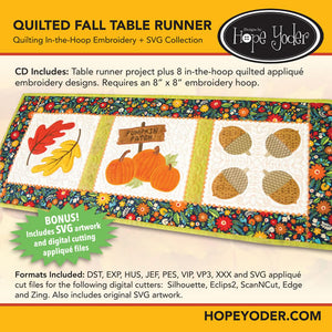 Quilted Fall Table Runner Embroidery CD/SVG files