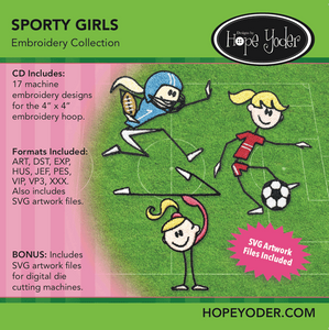 Sporty Girls Embroidery CD/SVG files
