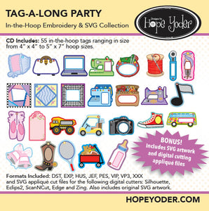 Tag-A-Long Party Embroidery CD/SVG files