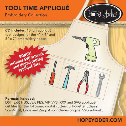 Tool Time Applique Embroidery CD/SVG files
