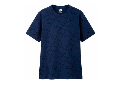 Kaws x uniqlo All over Holliday Print tee blue
