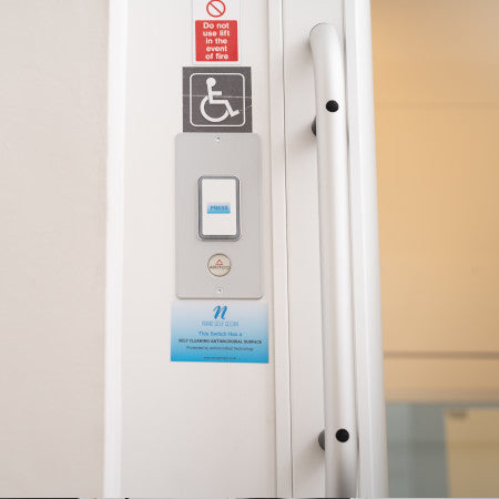 New Self Cleaning Antimicrobial Light Switch Labels  x 20 & Press button stickers x 180 - 1 Pack - Nanoselfclean™