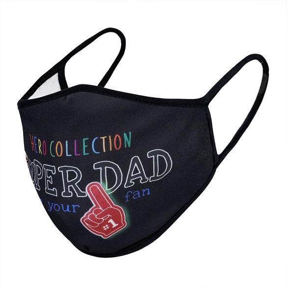 Super Dad Print Face Mask - Black Antimicrobial Coated - Nanoselfclean™