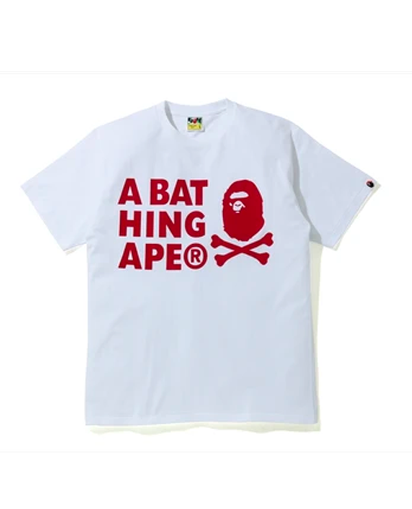 A BATHING APE CROSSBONE PIGMENT PRINT TEE RED