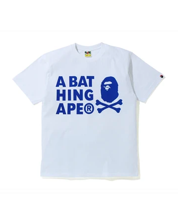 A BATHING APE CROSSBONE PIGMENT PRINT TEE ROYAL BLUE