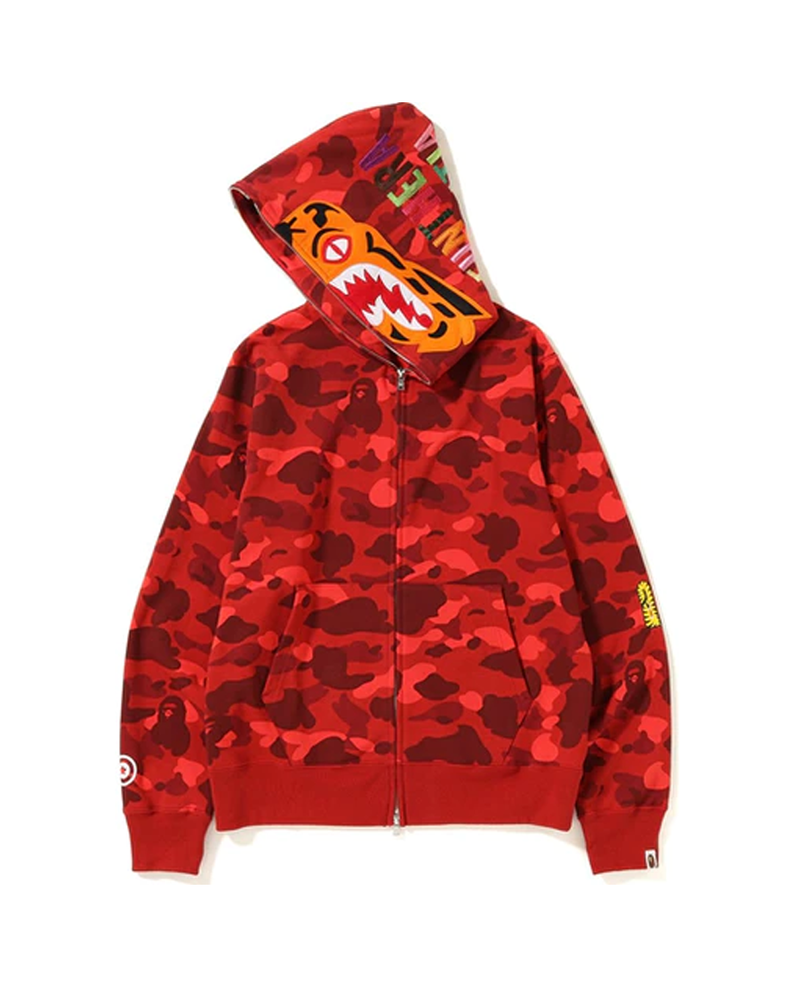 BAPE Color Camo Tiger Full Zip Hoodie (FW18) Red