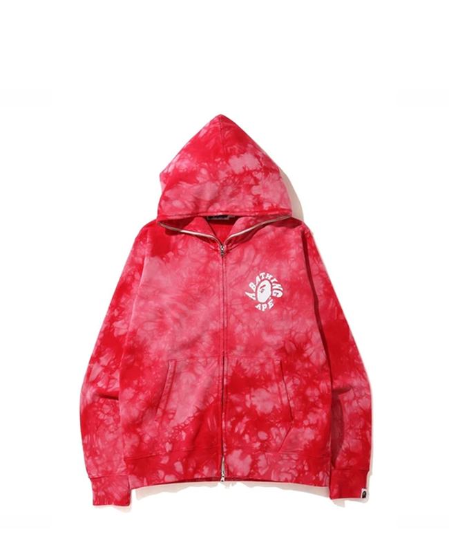 BAPE Tie Dye Wide Full Zip Hoodie Red