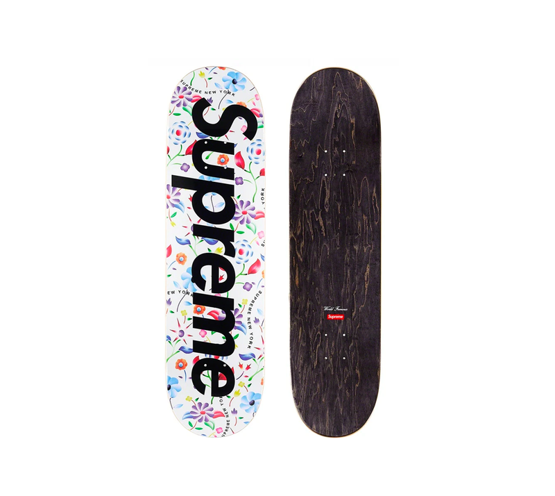 Supreme Skateboard Deck - Airbrushed Floral White