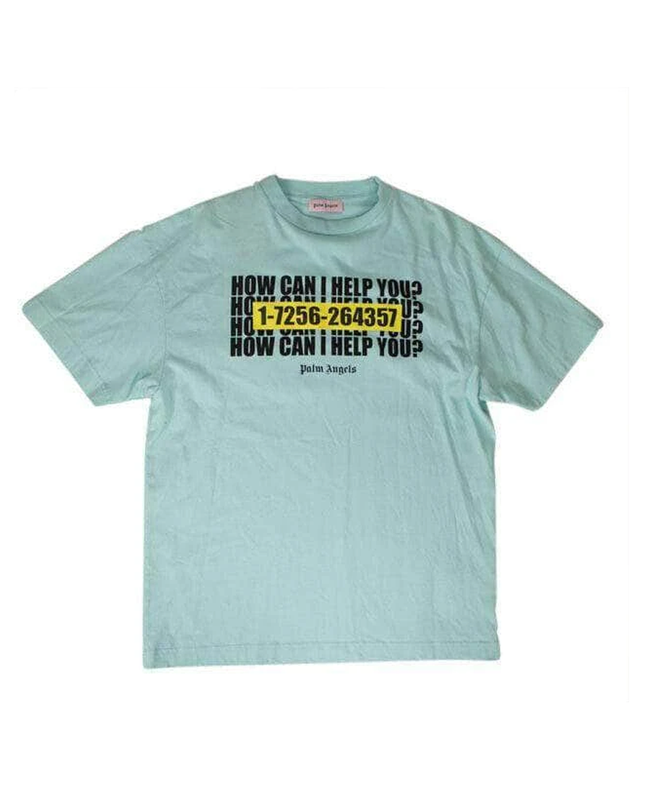 NEW PALM ANGELS Blue How Can I Help You Short Sleeve T-Shirt