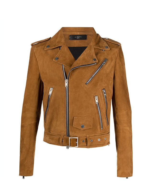 Notched-collar Zip-up Leather Jacket In Brown