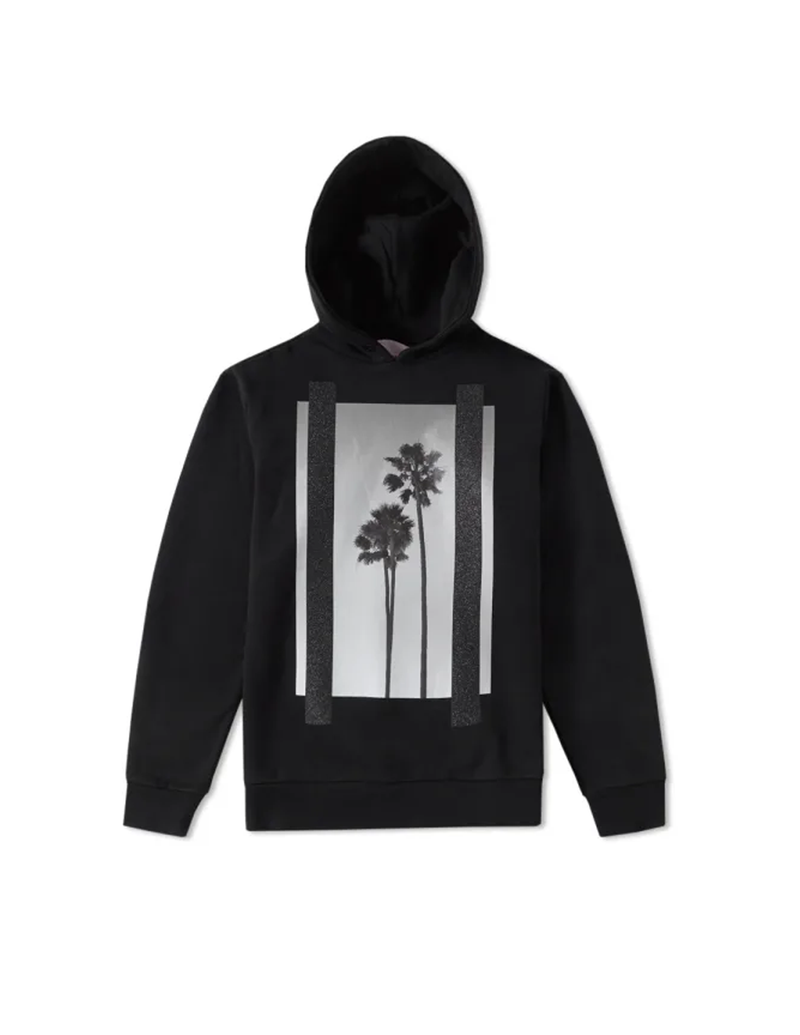 PALM ANGELS Black Cotton Graphic Hoodie Sweatshirt Size M