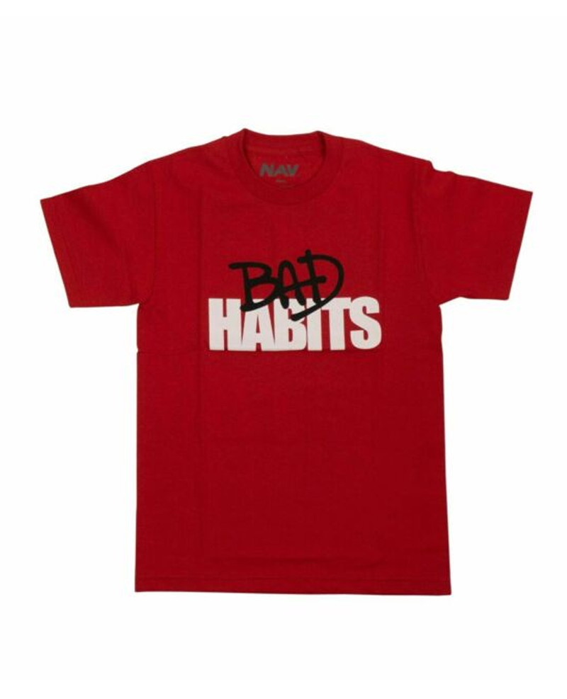 VLONE X NAV COTTON 'BAD HABITS DRIP' SHORT SLEEVE T-SHIRT - RED