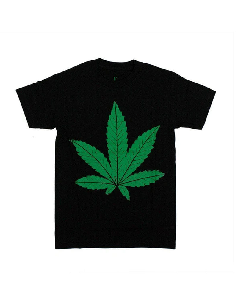 Vlone Men's Cotton Green Weed Leaf Short Sleeve T-Shirt - Black