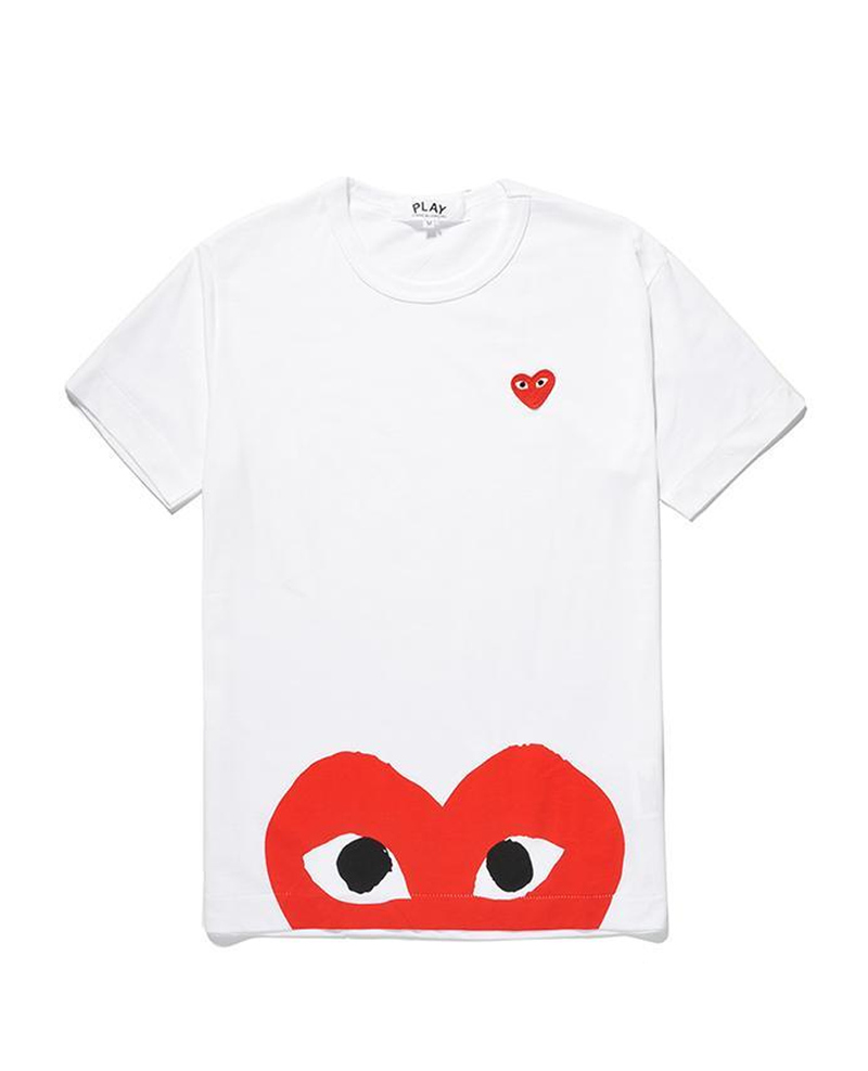 play comme des garcons red cotton half heart shirt