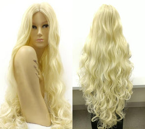 SUPER LONG 40 inch Blonde Wavy Middle Lace Part Heat Resistant Wig. Rapunzel Fairy Mermaid Godiva Wig