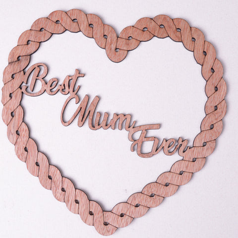 Best Mum Ever heart, Plywood