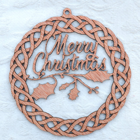 Celtic style Christmas wreath, with holly