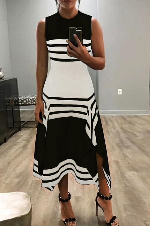 Black&White Striped Slit Casual Dresses