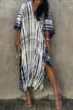V-Neck Striped Tie-Dye Maxi Dress