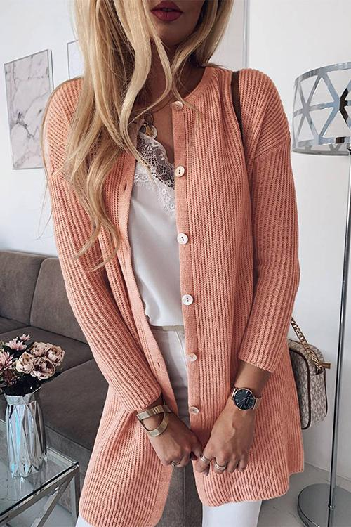 Solid Color Button Knit Cardigan