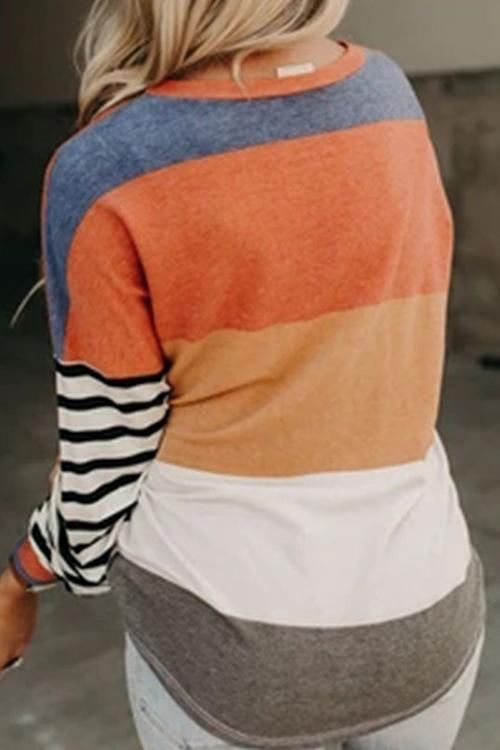Casual Contrast Stitching Striped T-Shirt
