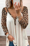 Waffle Panel Leopard Off Shoulder T-shirt
