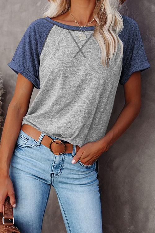 Contrast Stitching Short-Sleeved T-Shirt