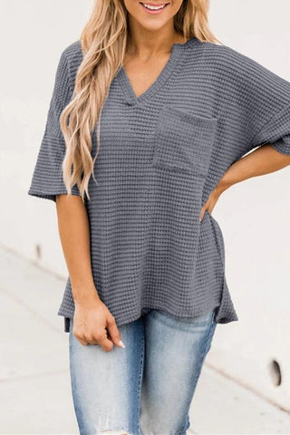 V-Neck Pocket Split Loose Knit T-Shirt