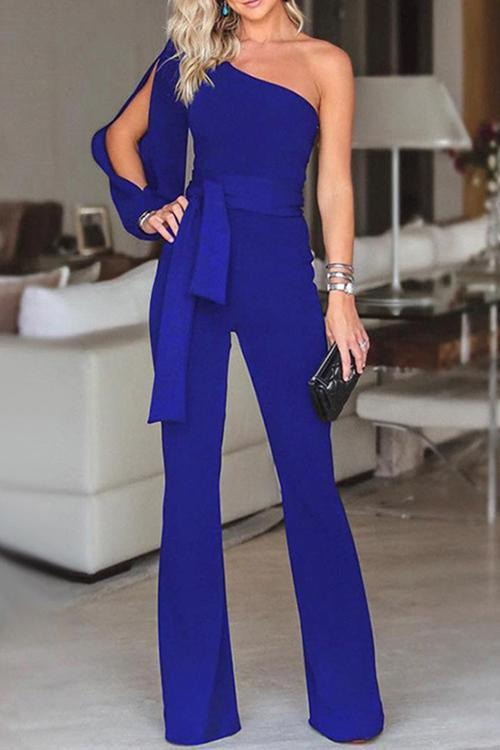 Solid Color One Shoulder Belt Jumpsuit