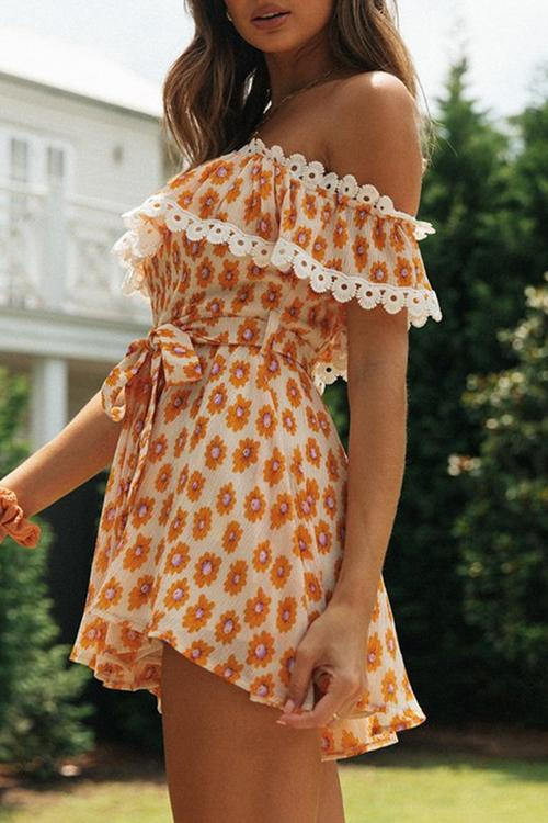 Flower Printed Off Shoulder Romper