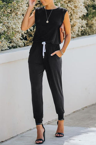 Solid Color Sleeveless Bandage Pocket Jumpsuit