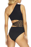 One Shoulder Leopard Bandage One Piece
