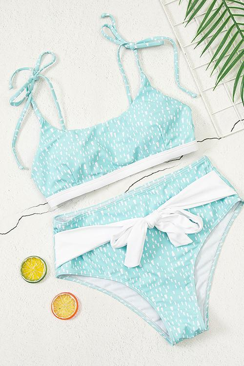 High-Waisted Bikini With Leaf Print