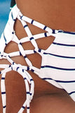 Striped Contrast Twisted Bikini