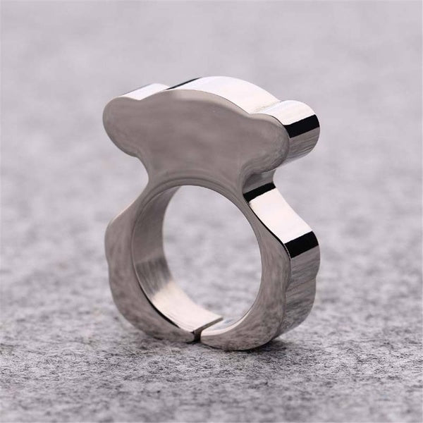 Stainless Steel Cute Bear Women Ring Delicate Size 6/7/8/9 Silver Band