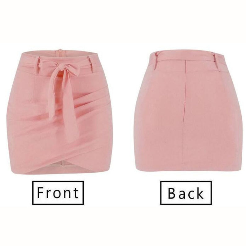 Elegant Pleated Solid Waistband Patchwork Skirt High Waist Package Hip Women Skirt