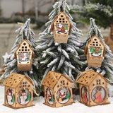 1Pcs New Christmas Led Lights Wooden House Xmas Christmas Tree Hanging Ornaments Party Holiday Decoration