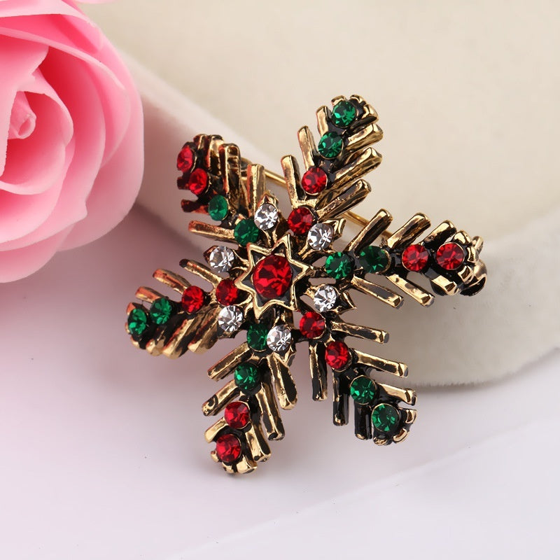 Christmas Snowflake Brooch Colored Pins Suits Decorative Corsage