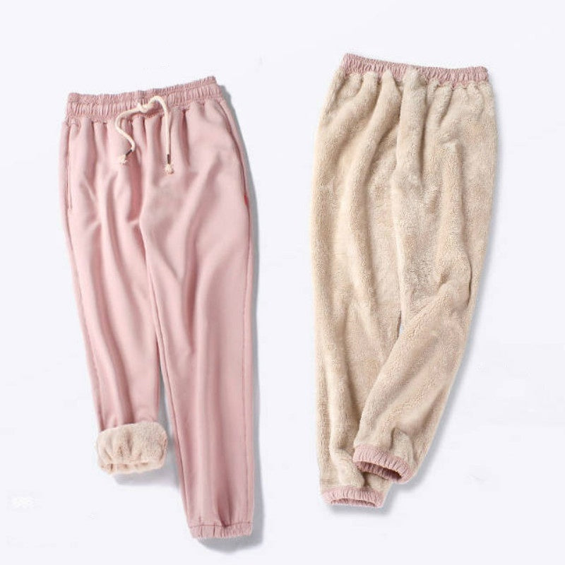 Autumn and Winter Thickening Velvet Sweatpants Plush Drawstring Sport Pants Soft Warm Pants Inner Pockets