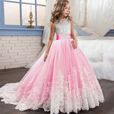 Girls Princess Dress Elegant Wedding Birthday Party Prom Evening Dress White First Holy Communion Formal Lace Dress for Girls