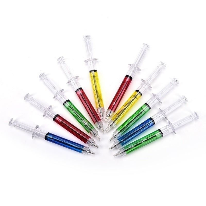 Syringe Injection Shape Ballpen 10Pcs Doctor Nurse Gift Liquid Pen Ballpoint