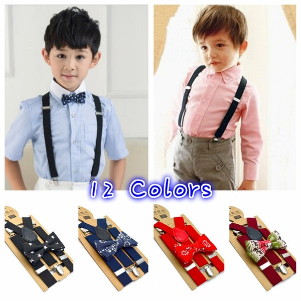 Fashion Clip-on Suspender and Bow Tie Set for Children Kids Boys Girls Elastic Adjustable